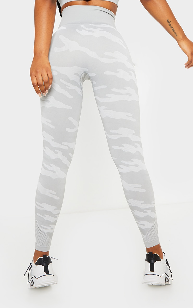 Grey Camo Seamless Gym Leggings 3