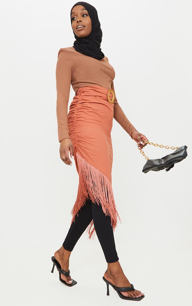 Rust Woven Belted Tassel Midaxi Skirt 1