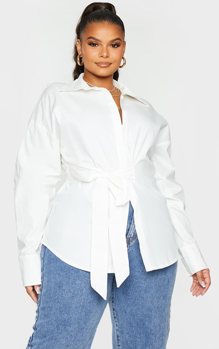 Plus White Tie Side Detail Poplin Shirt 3