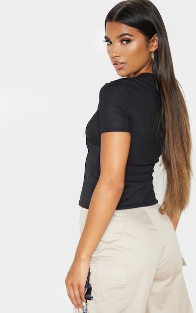 Black Rib Underbust Panel Short Sleeve T Shirt