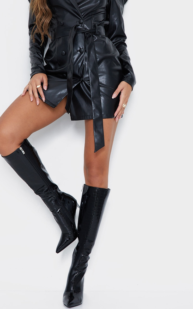 Black Patent Clear Stiletto Heel Knee High Boots 2