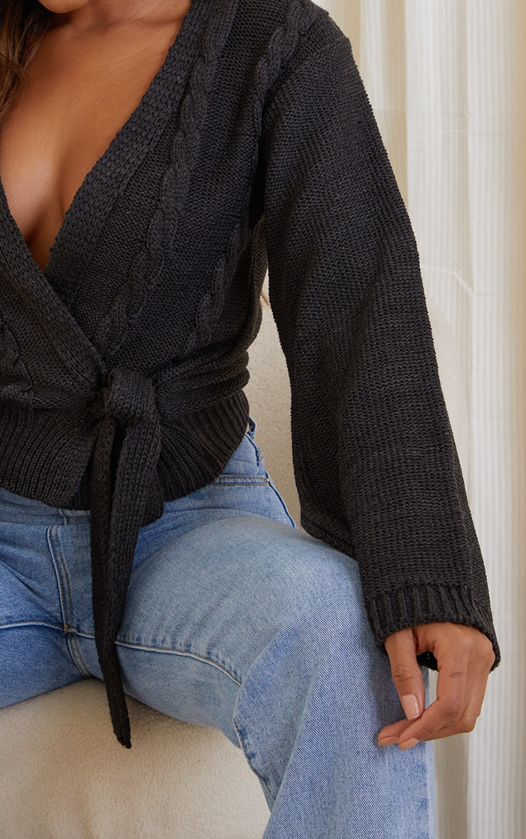 Charcoal Cable Tie Wrap Front Knitted Cardigan 4