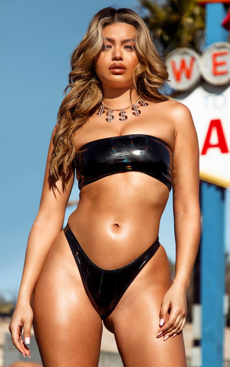 Black Holographic Bandeau Bikini Top 1