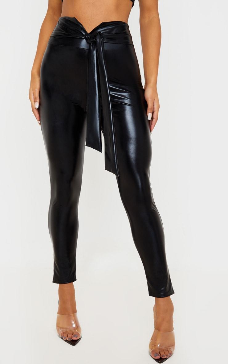Black Shiny Belted Skinny Trouser 2