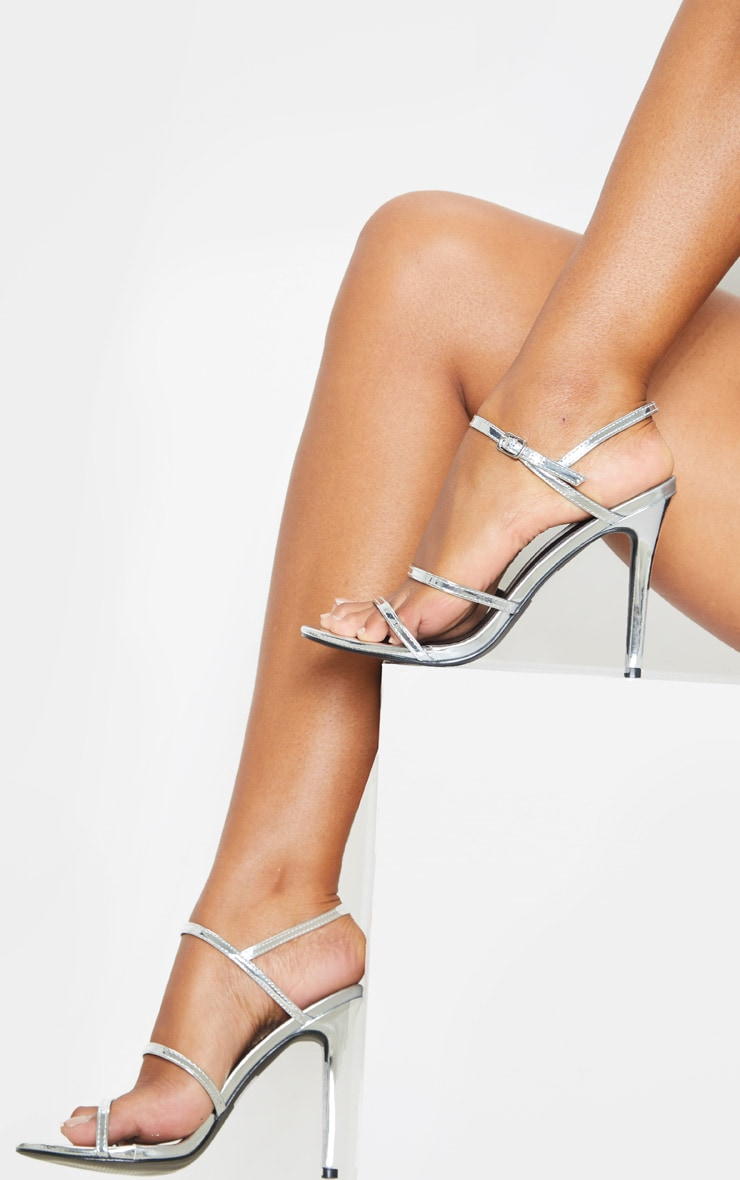 Silver Wide Fit Triple Strap Slingback Barely There Sandal 1