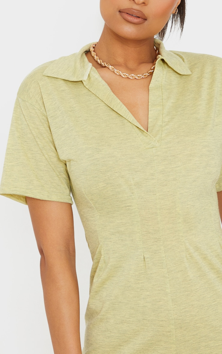 Yellow Marl Polo Collar Pleated Detail Shift Dress 4