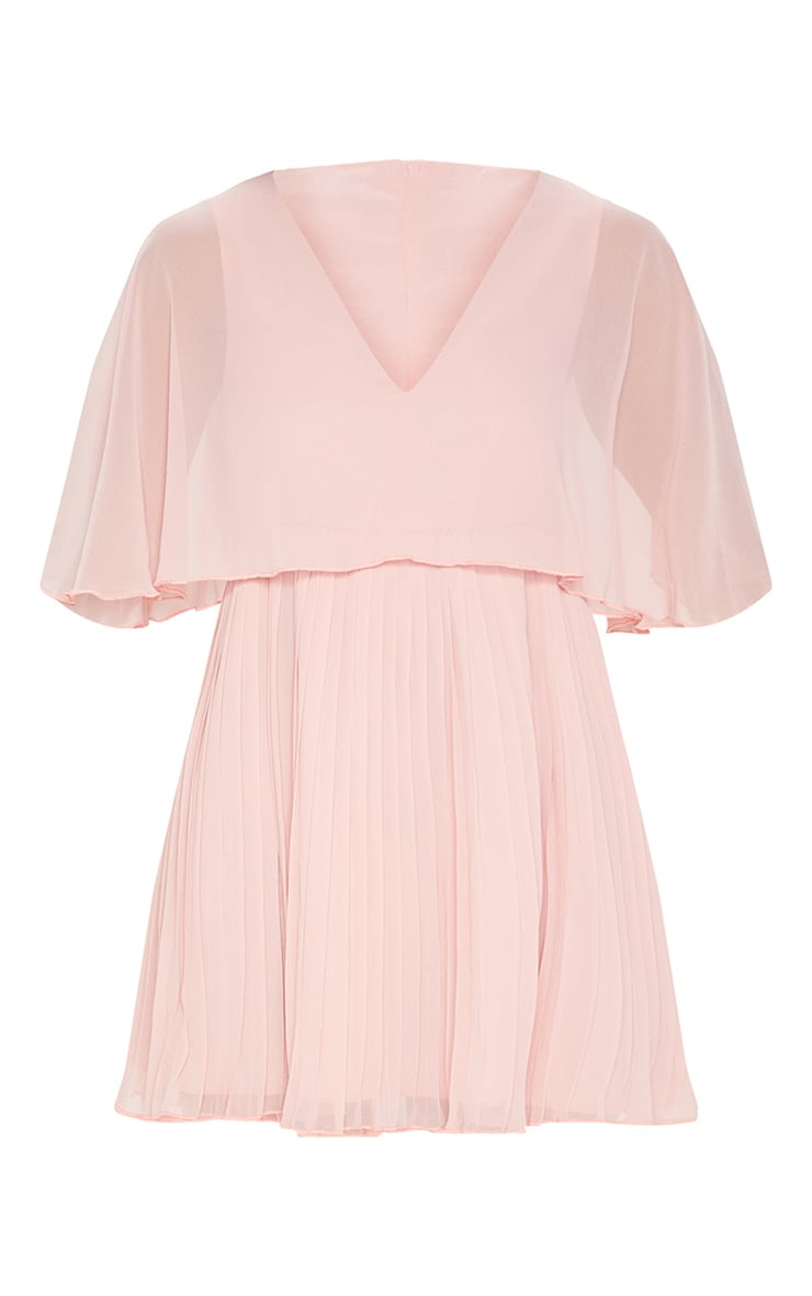 Dusty Pink Cape Pleated Detail Skater Dress  3