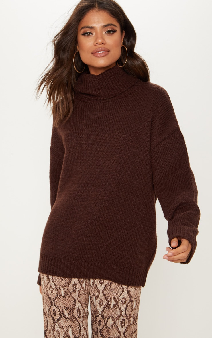 Chocolate High Neck Fluffy Knit Sweater  3