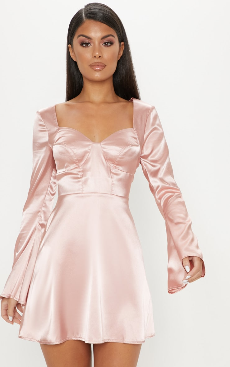 Rose Satin Cup Detail Skater Dress