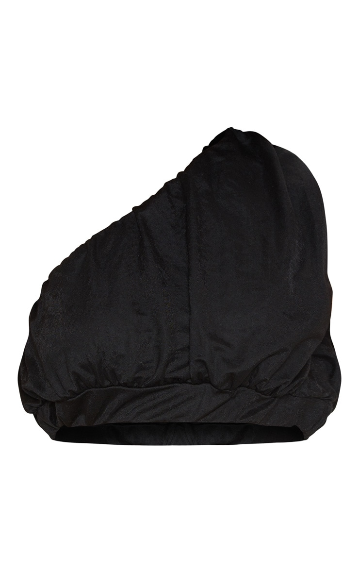 Crop top à bretelle unique noir tissé froncé 3