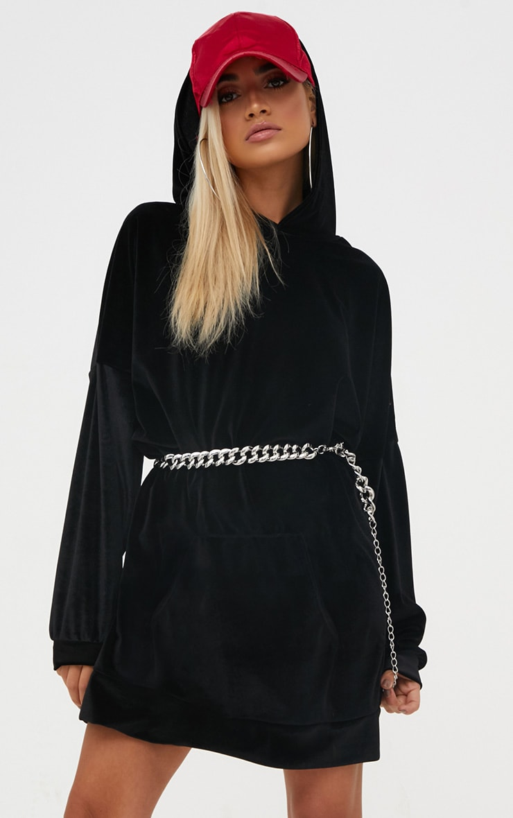 Black Velour Oversized Sweater Dress 1