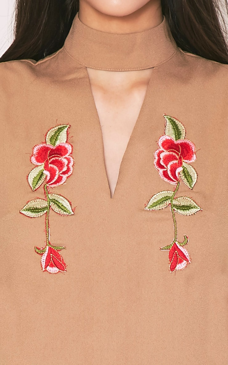Taina Camel Choker Detail Embroidered Shift Dress 6