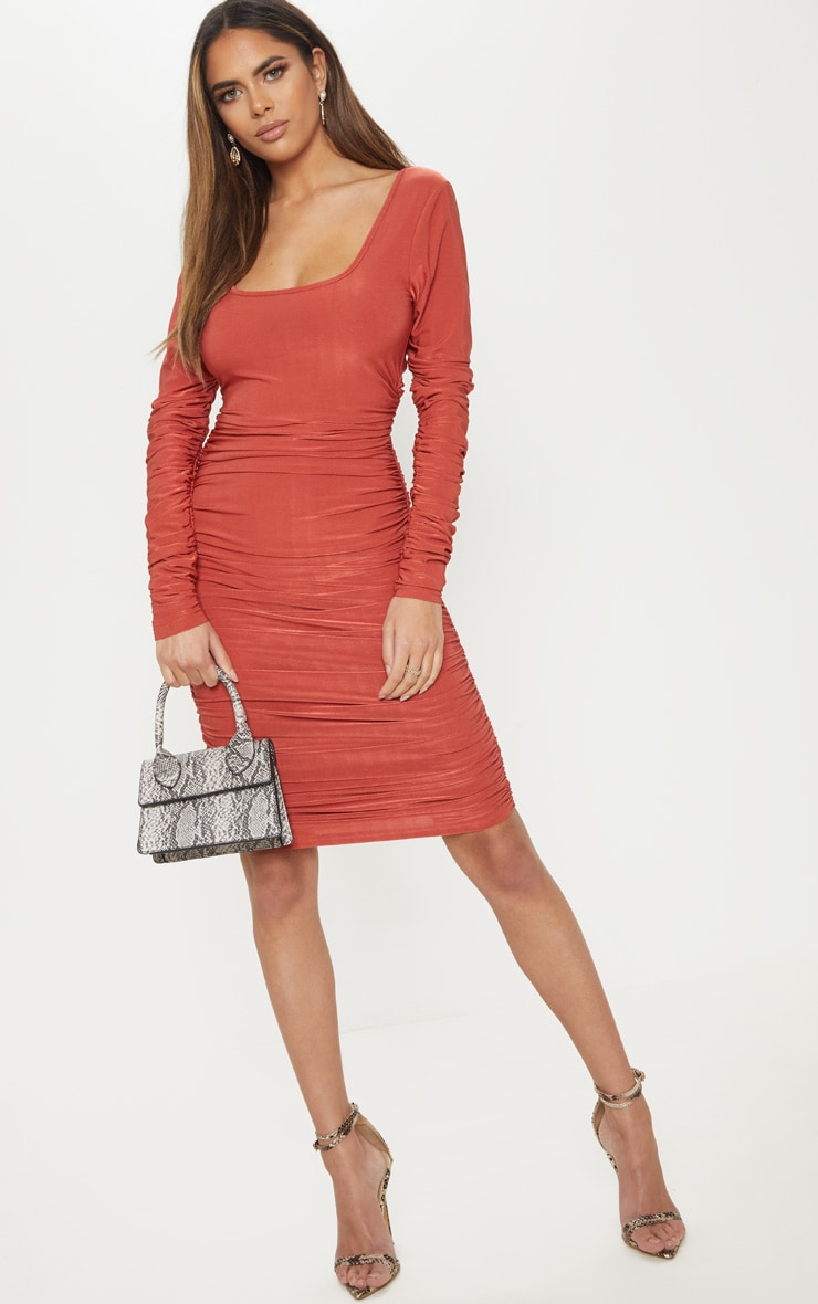 Rust Square Neck Ruched Detail Bodycon Dress