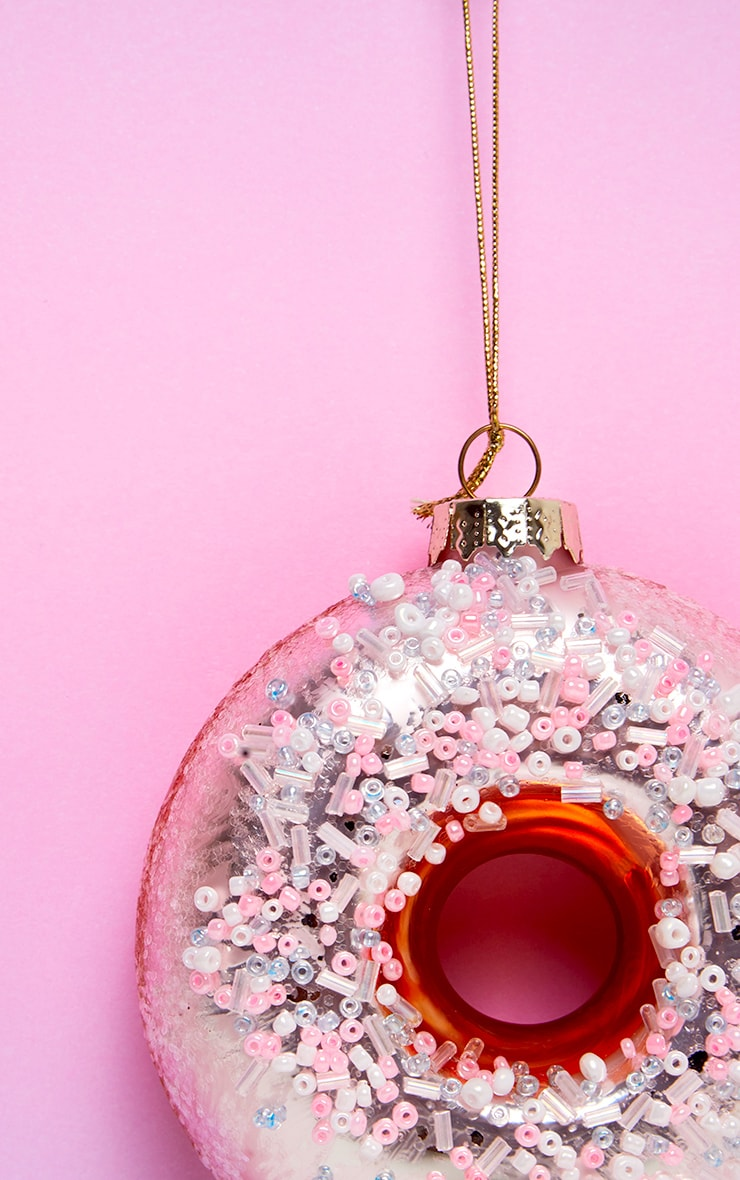 Sass & Belle Pink Sugar Coated Donut Shaped Bauble 2