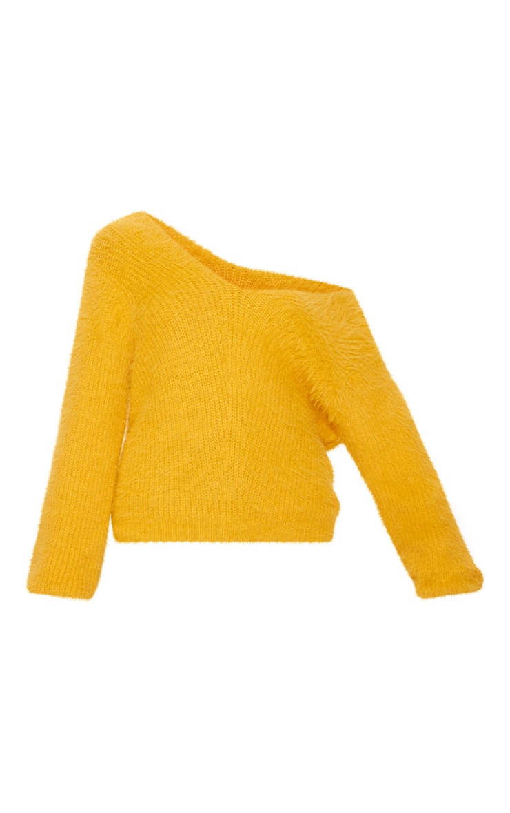 Mustard Eyelash Knitted Sweater 3