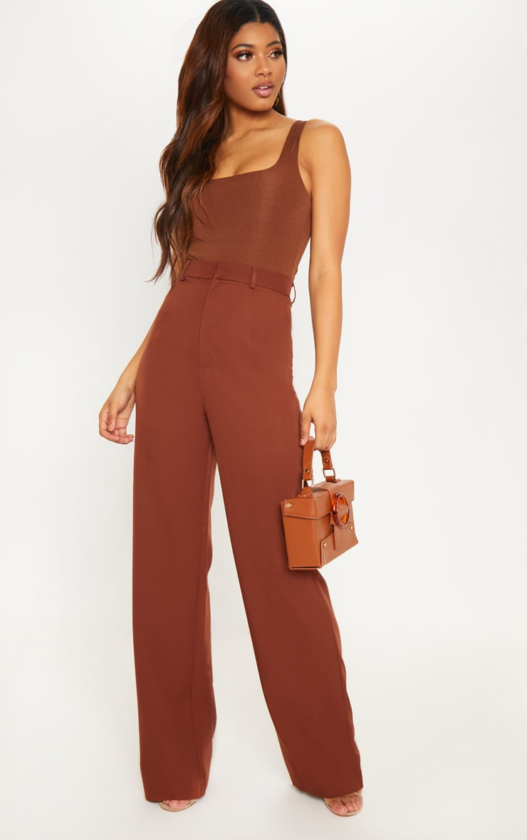 Tall Chocolate Brown High Waist Wide Leg Trousers 1