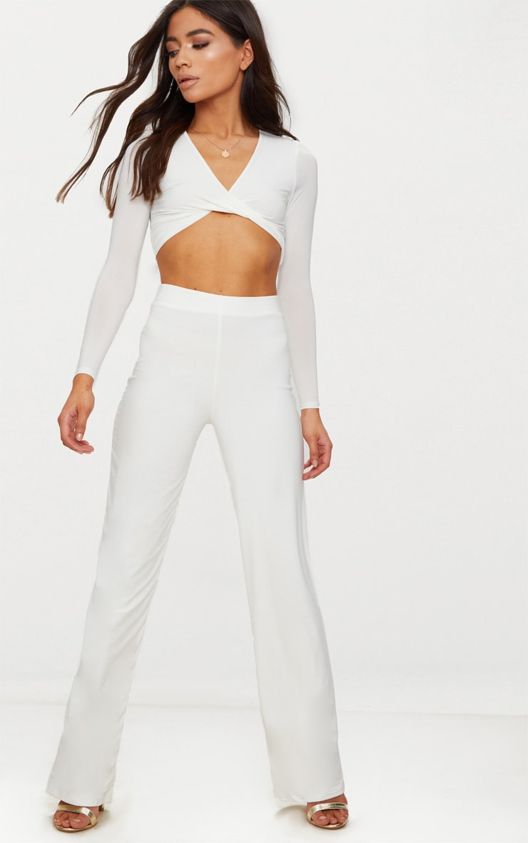 Petite White Slinky Wide Leg Pants 1