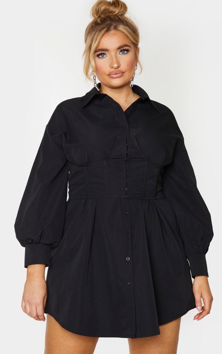 Plus Black Woven Corset Bust Detail Shirt Dress 1