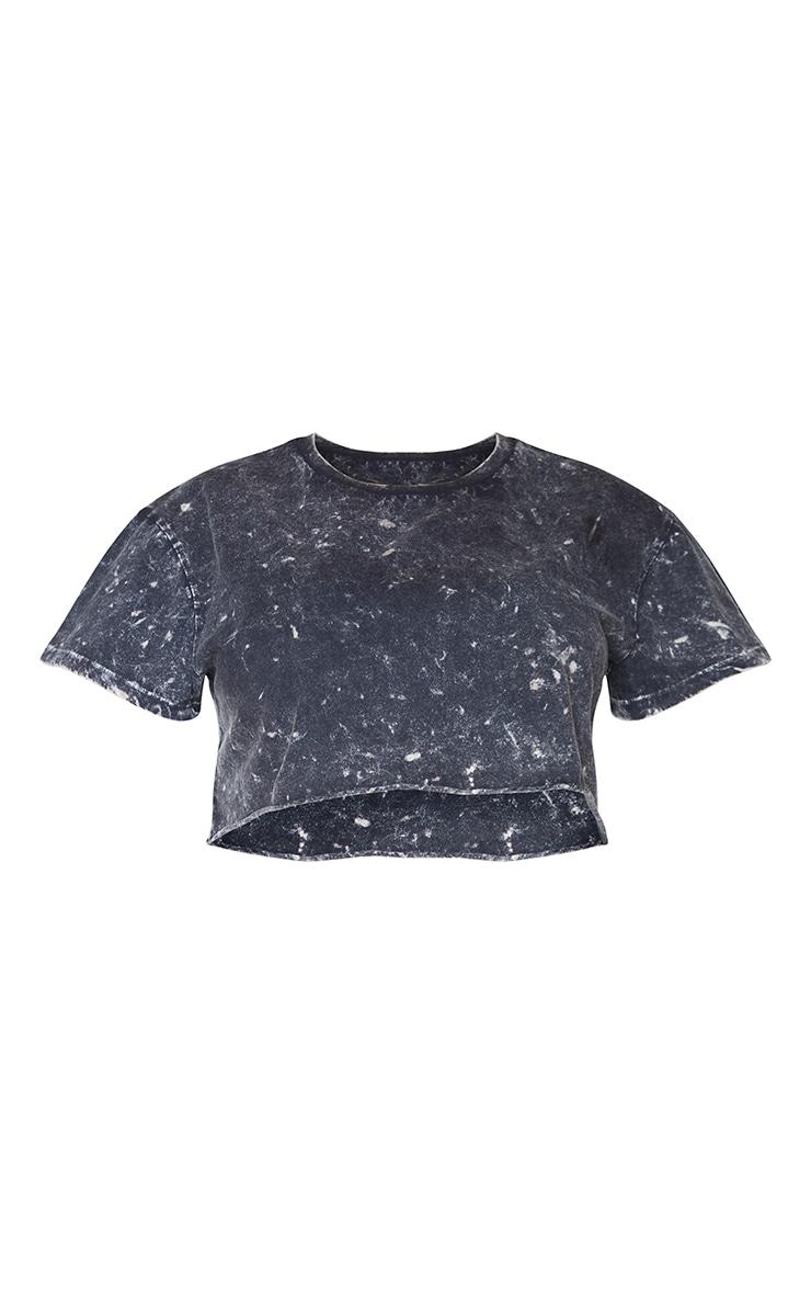 Plus Black Acid Wash Crop T- Shirt 5