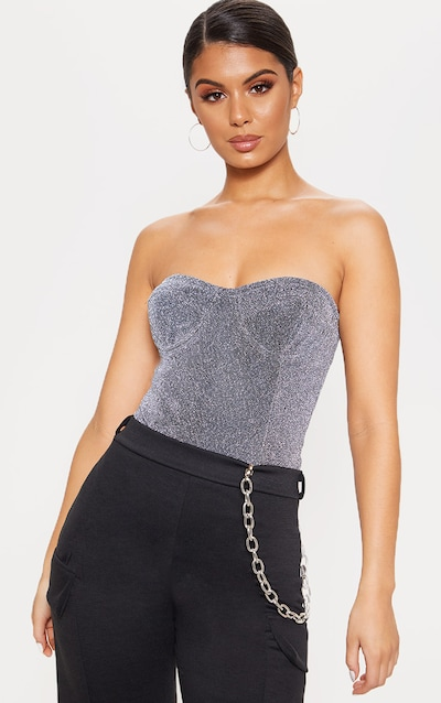 fa5a90a20c8b23 Silver Glitter Bandeau Cupped Bodysuit. More colours available