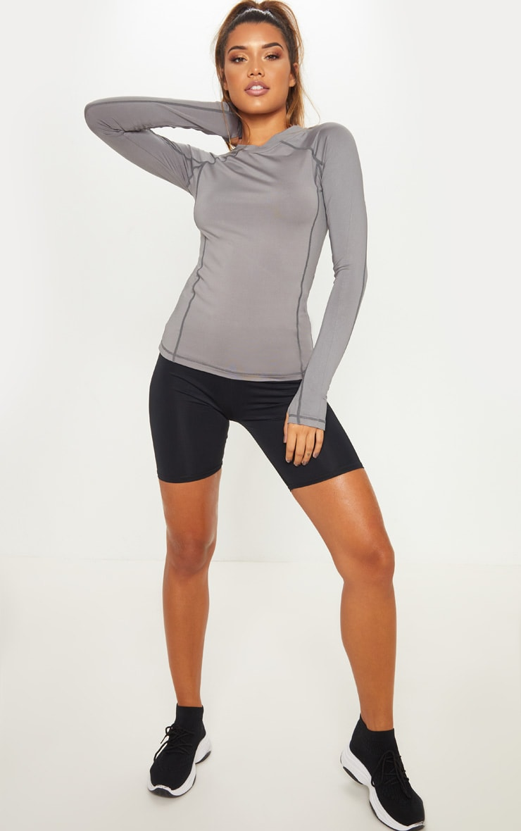 Charcoal Long Sleeved Gym Top 4