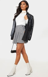 Black Dogtooth Pleated Side Split Tennis Skirt 1