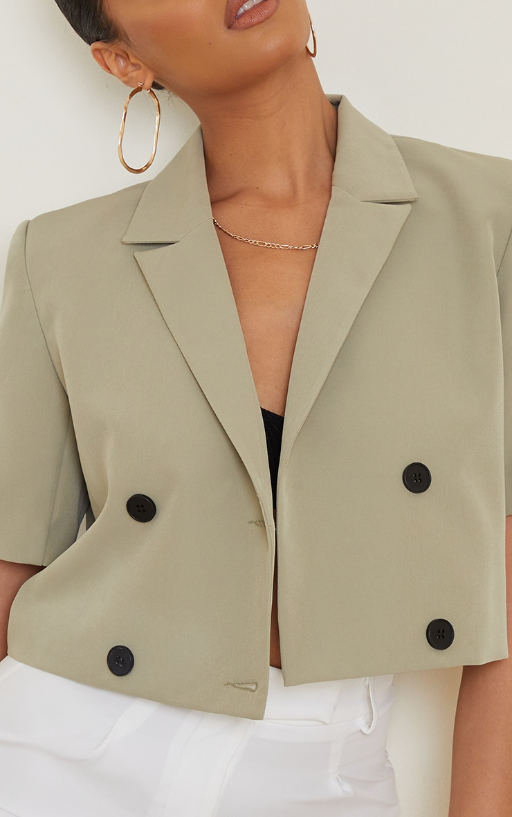 Sage Green Woven Double Breasted Cropped Short Sleeve Blazer 4