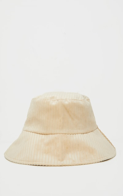 Beige Cord Effect Bucket Hat