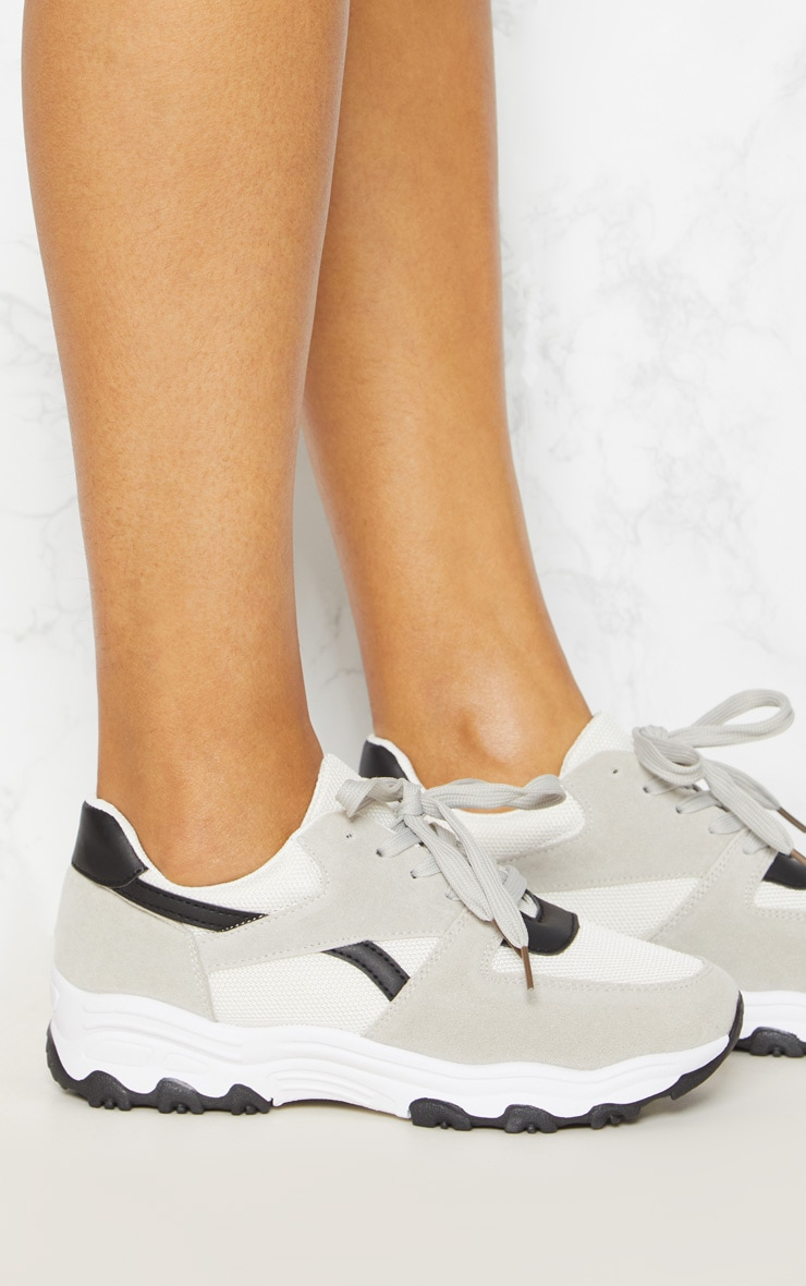 Grey Lace Up Chunky Trainer 5