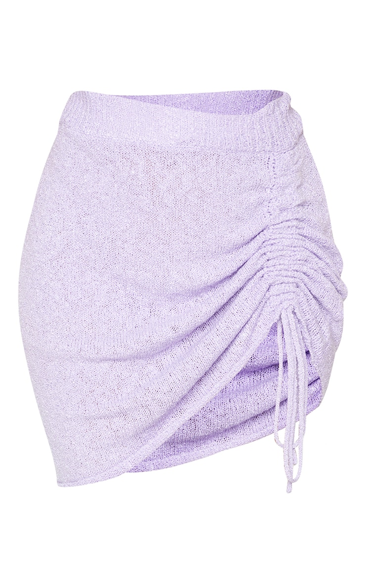Lilac Ruched Tie Front Knit Mini Skirt 6