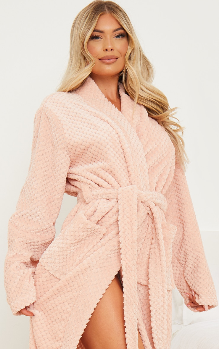 Pink Textured Fluffy Longline Dressing Gown 4