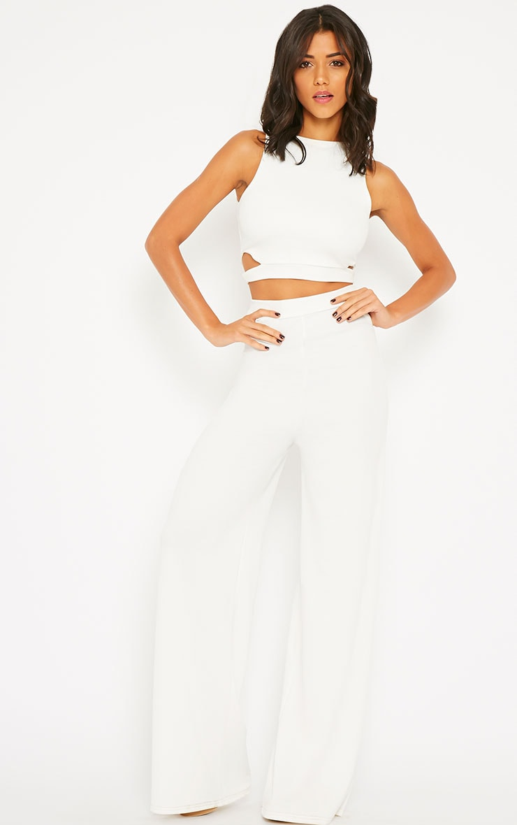 Elphina White Crepe Cut Out Trousers 5