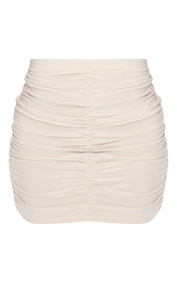 Stone Slinky Double Ruched Seam Mini Skirt 6