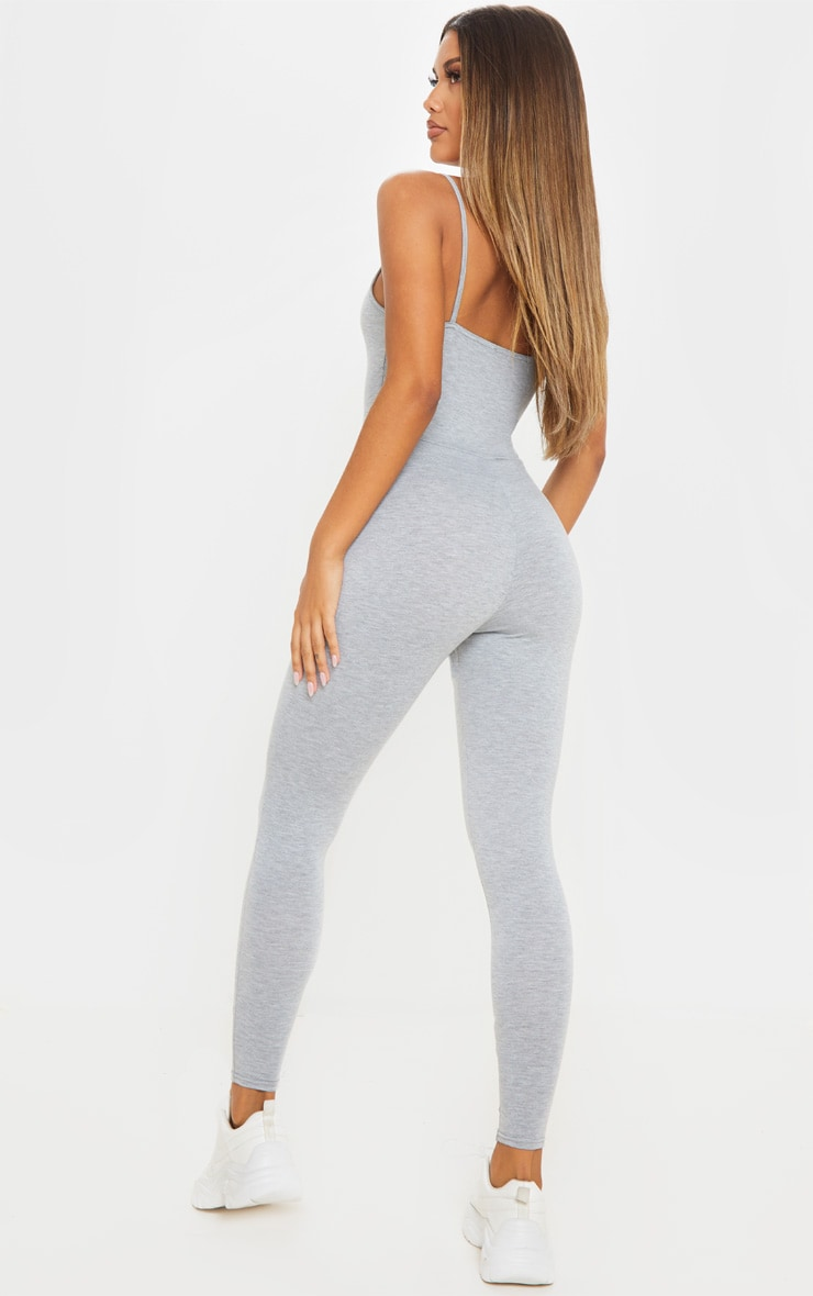 Grey Marl Basic Strappy Plunge Jumpsuit 2