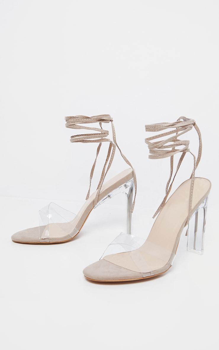 Nude Clear Heel Ankle Tie Sandal 3