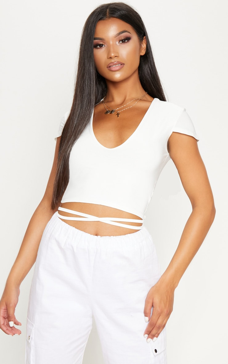White Slinky V Neck Harness Detail Crop Top 1