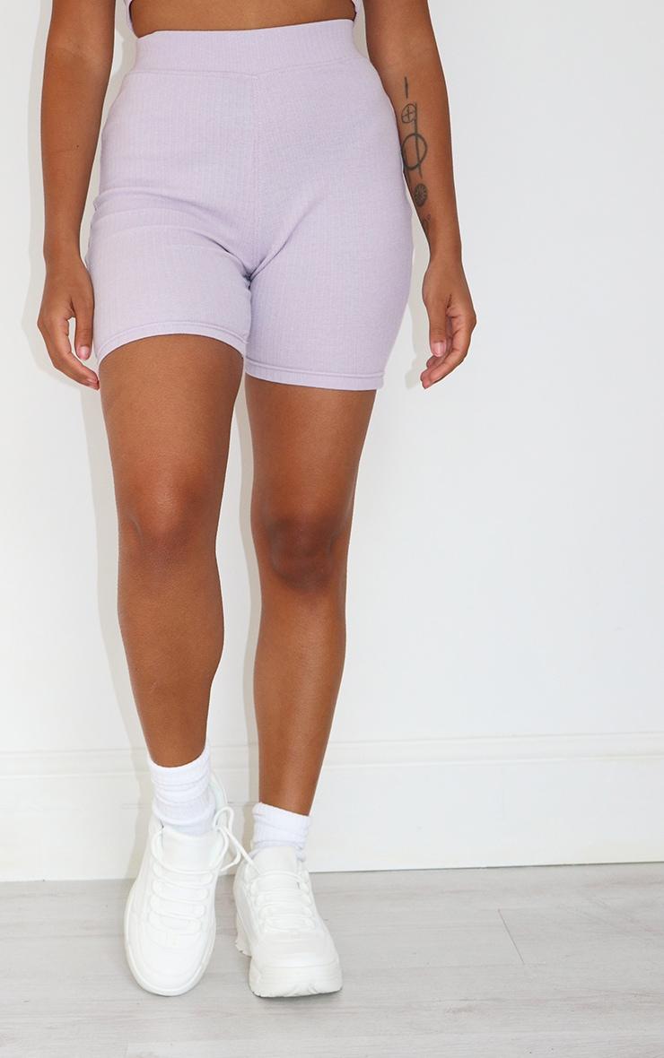 Petite Lilac Ribbed Bike Shorts 2