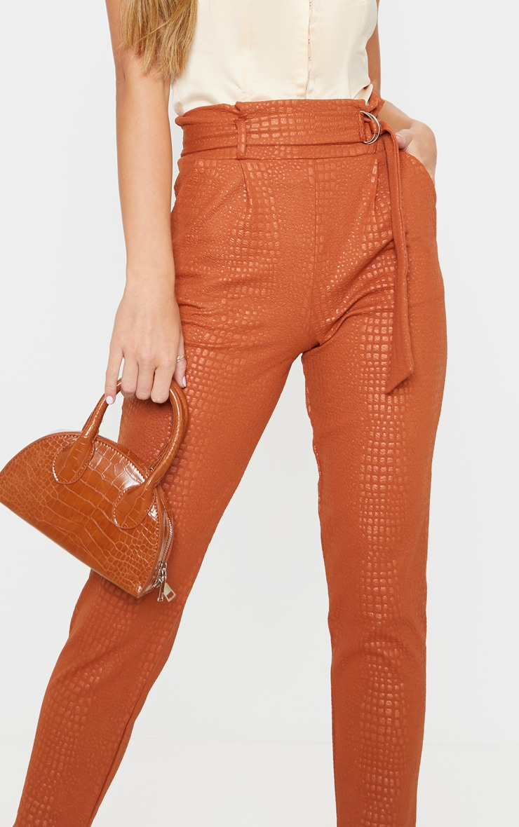 Tan Croc Print D Ring Belted Skinny Trousers 5