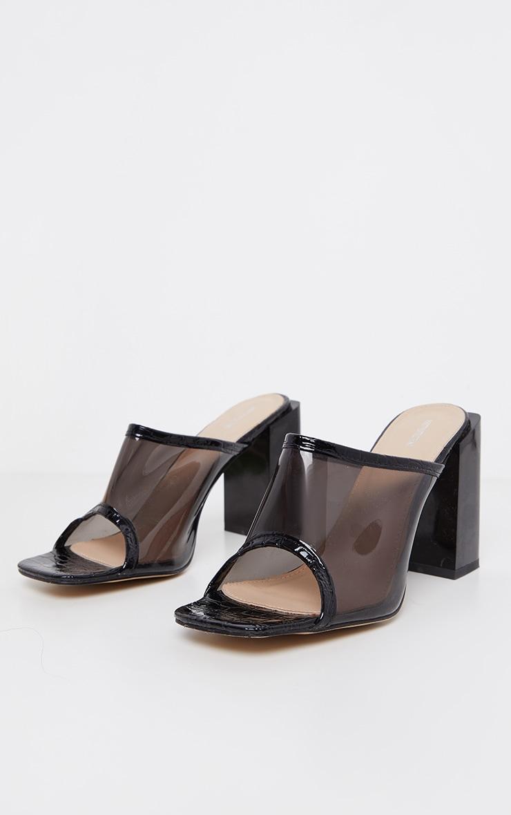 Black Chunky Block Heel Mule 2