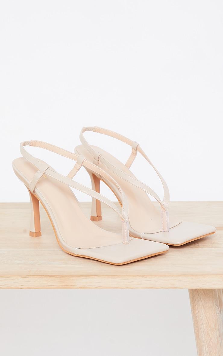 Sandales carrées en similicuir nude à bride talon 3
