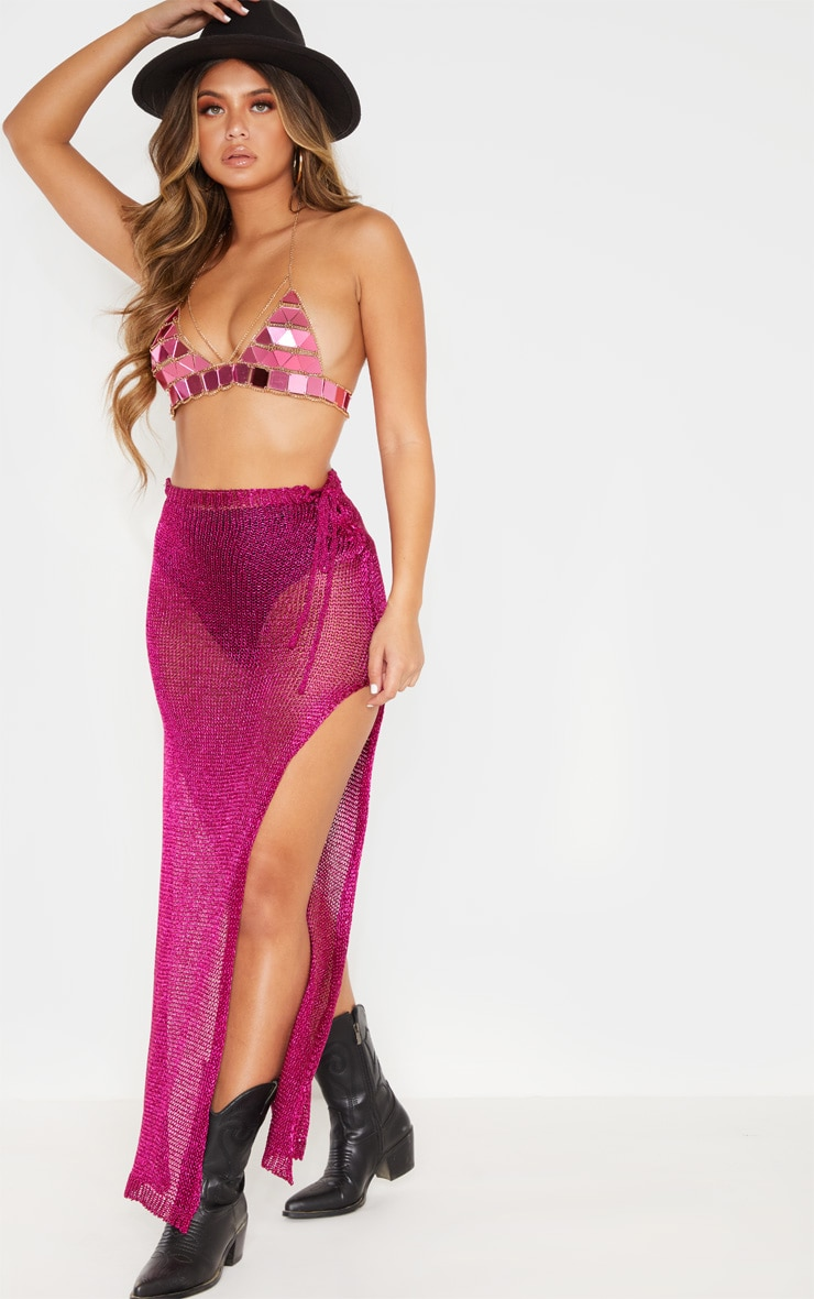 Hot Pink Metallic Knitted Maxi Skirt 1