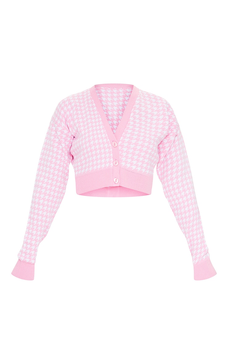 Pink Dogstooth Knitted Crop Cardigan 5