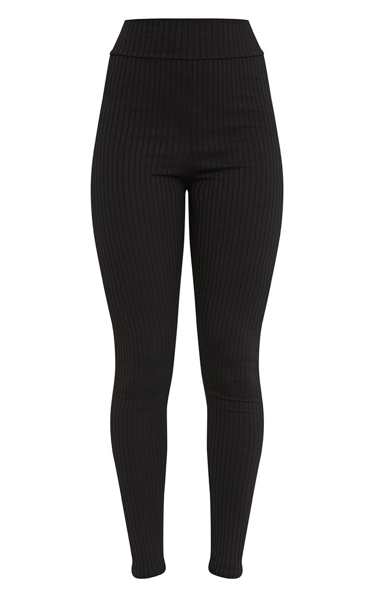 Harlie Black Ribbed High Waisted Leggings 3