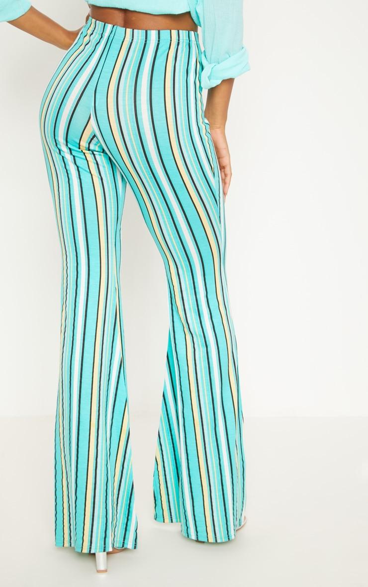 Aqua Green Jersey Stripe Jersey Flared Trouser 4