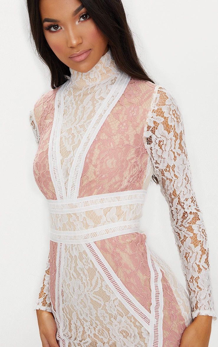 White High Neck Long Sleeve Contrast Lace Bodycon Dress 5