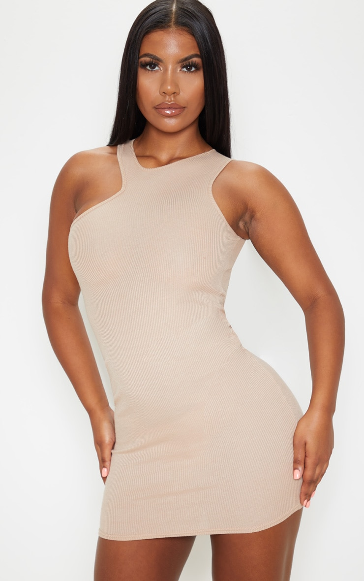 Stone Ribbed Cut Out Neck Detail Bodycon Dress 1