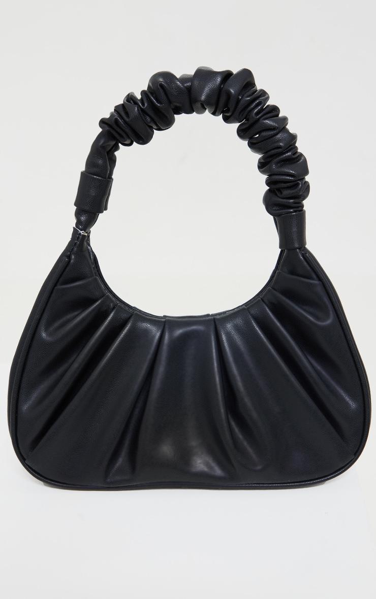 Black Extreme Ruched Handle Shoulder Bag 1