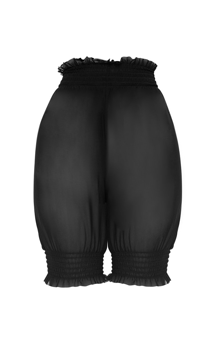 Black Sheer Frill Trim Cycle Shorts 3