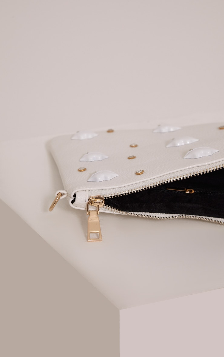Chanelle White PU Lip Studded Clutch Bag 3
