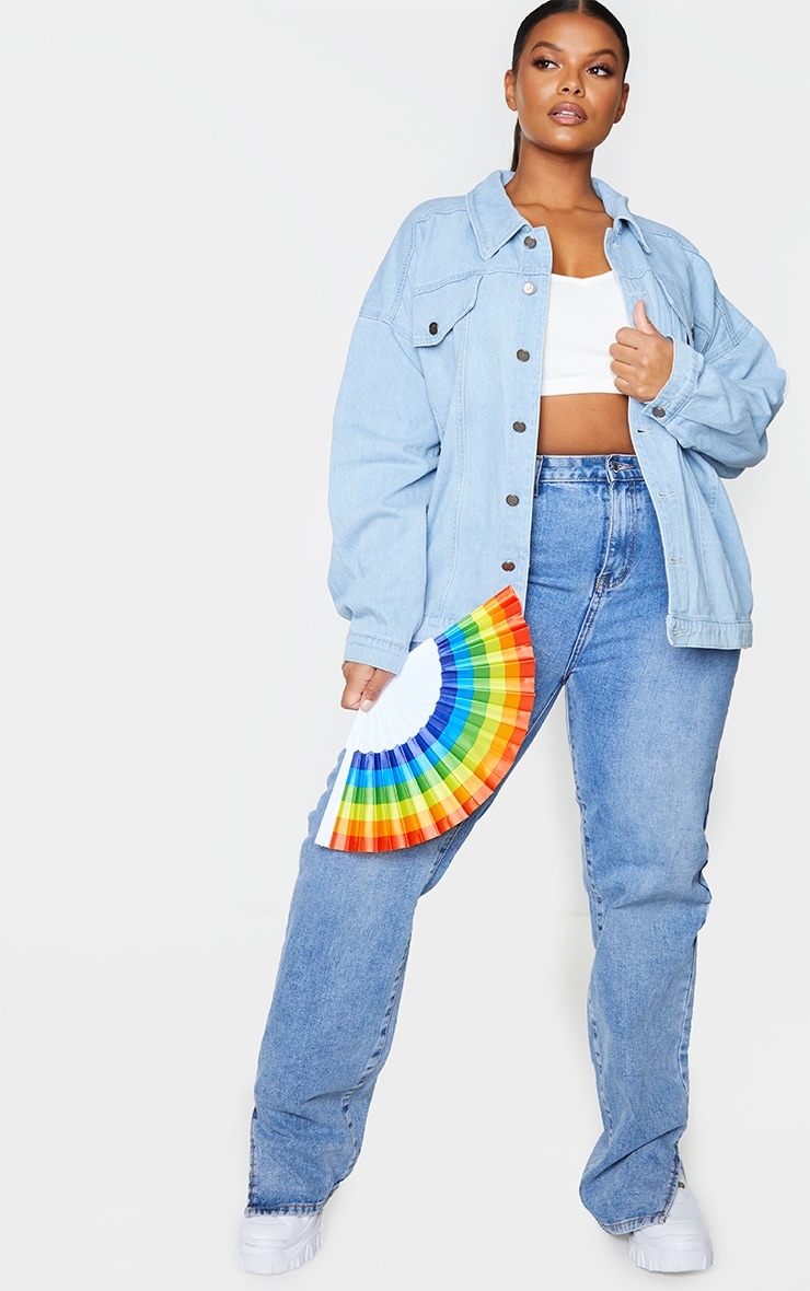 Plus Mid Blue Wash Pride Sequin Embellished Denim Jacket 3